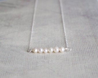 Sterling silver pearl bar necklace