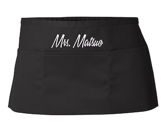 Custom Waist  Apron ( Add Your Name , Schools Name, Friends Name Or Anything You Wish