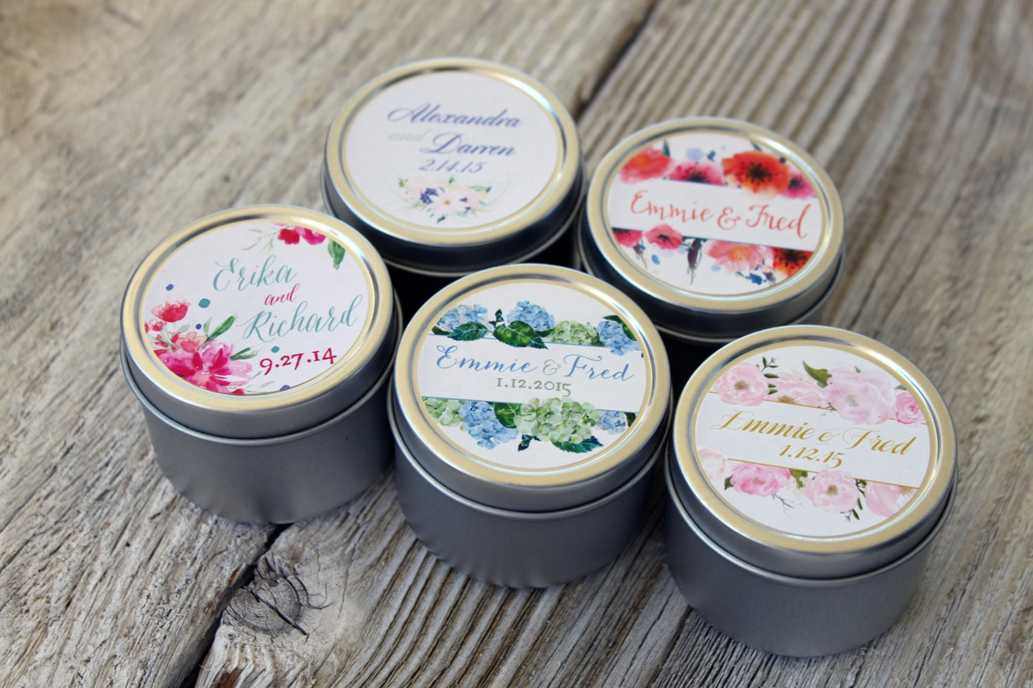 50 Custom Candle Favor in 2oz Tins // Custom by BitterWilloughby
