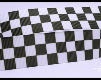 "Black and White Checkers Pattern Grosgrain Ribbon 7/8"" Scrapbooking HairBows Parties DIY Projects AZ478"