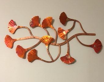 Medium Hand Made Copper Ginkgo Wall Hang