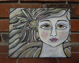 Special SALE!!  Folk Art 8 X 10 Canvas Green Eye Angel Painting