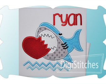 Personalized Valentine's Day Shark Applique Shirt or Onesie Girl or Boy