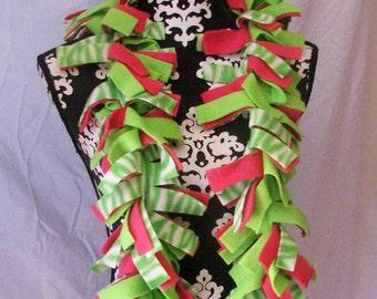 Lime Green, Pink and White Zebra Print Fleece Fringe Boa Scarf