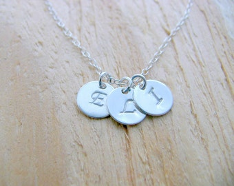 Personalized Monogram Necklace 925 Sterling Silver Initials Letter Jewelry Hand Stamped discs Initial Necklace mother's necklace Gift