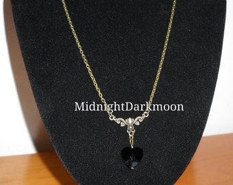 Vintage Black Heart Necklace