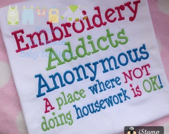 Embroidery Addicts Anonymous Embroidery Design -   DIGITAL EMBROIDERY DESIGN