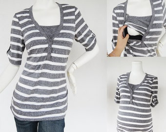 GRAY Striped Maternity Clothes / Nursing Tops for Breastfeeding / HENLEY New / Pregnancy Clothes Maternity Clothing Hospital Shirt