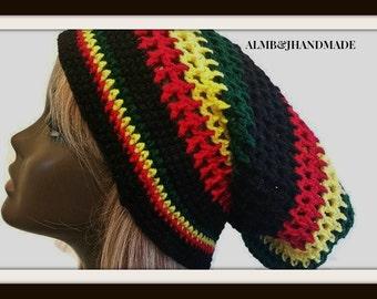 Slouchy Crochet Hat , Slouchy Rasta Hat ,  Rastafarian Beanie  ,  Loc Accessories  ,  Woman Slouchy Beanie  ,  Men Slouchy Beanie