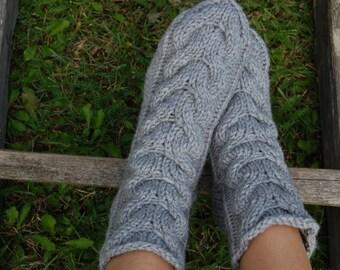 Knitted slippers socks, Hand knit wool socks,  Hand knit slippers, Wool socks for women