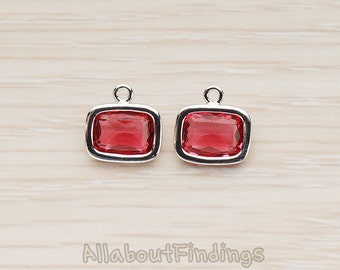 FST130-R-RU // Glossy Original Rhodium Plated Rounded Rectangle Simple Framed Ruby Stone Pendant, 2 Pc