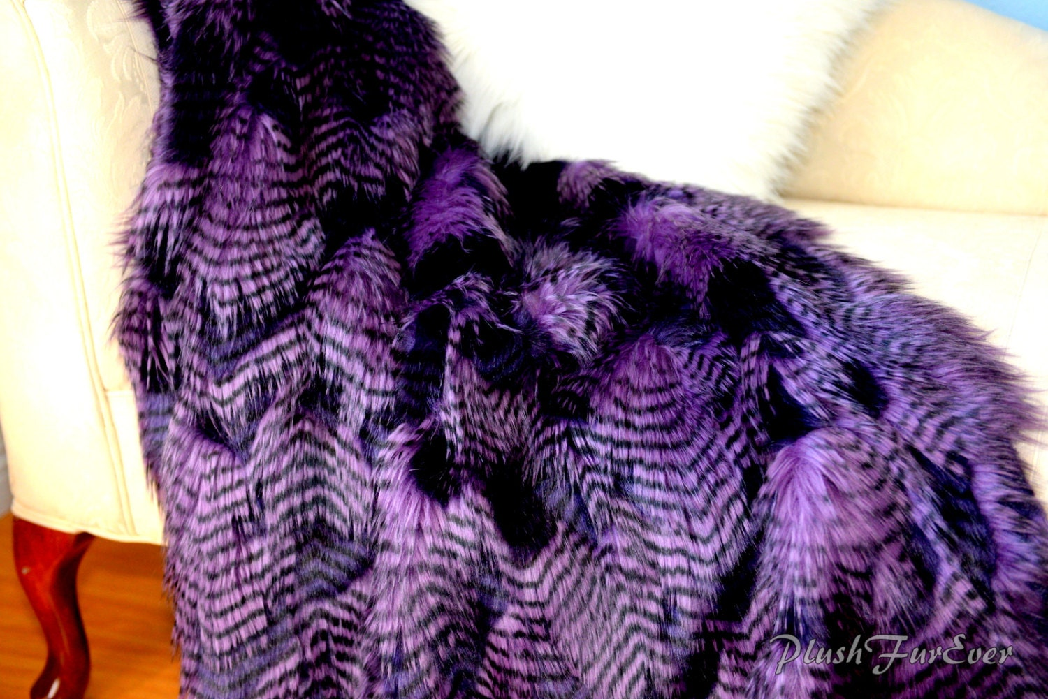 Paradise Bird Feather Ostrich Purple Throw Faux Fur