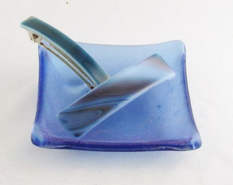 """Fused Glass Barrette - Purple & Blue striped barrette - French style barrette - 4"""" glass barrette - genuine french barrette - (3809-3878)"""