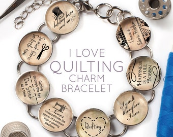 """I Love Quilting - Glass Charm Bracelet with Silver Singer Sewing Machine Charm, 6.75""""-8.75"""""""