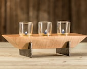 Wood Candleholder with Iron - Curly Maple and Hand Forged Iron Tea-Light Candleholder