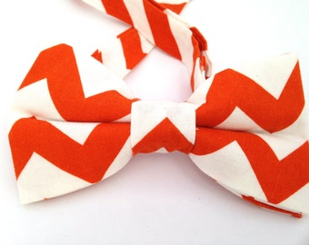orange chevron tie, Father's Day gift, Zigzag bow tie, bow tie, orange bow tie, orange neckwear, orange bow ties, orange and white bow ties,