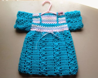 Crochet baby girl turquoise pullover sweater, baby dress, sweater dress, blue, toddler pullover sweater, turquoise & pink blue pullover top