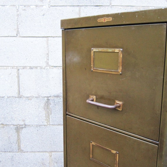 Filing Cabinet 1950s Industrial Green Four Drawer Storage