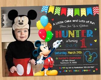mickey mouse invitation  etsy, Birthday invitations