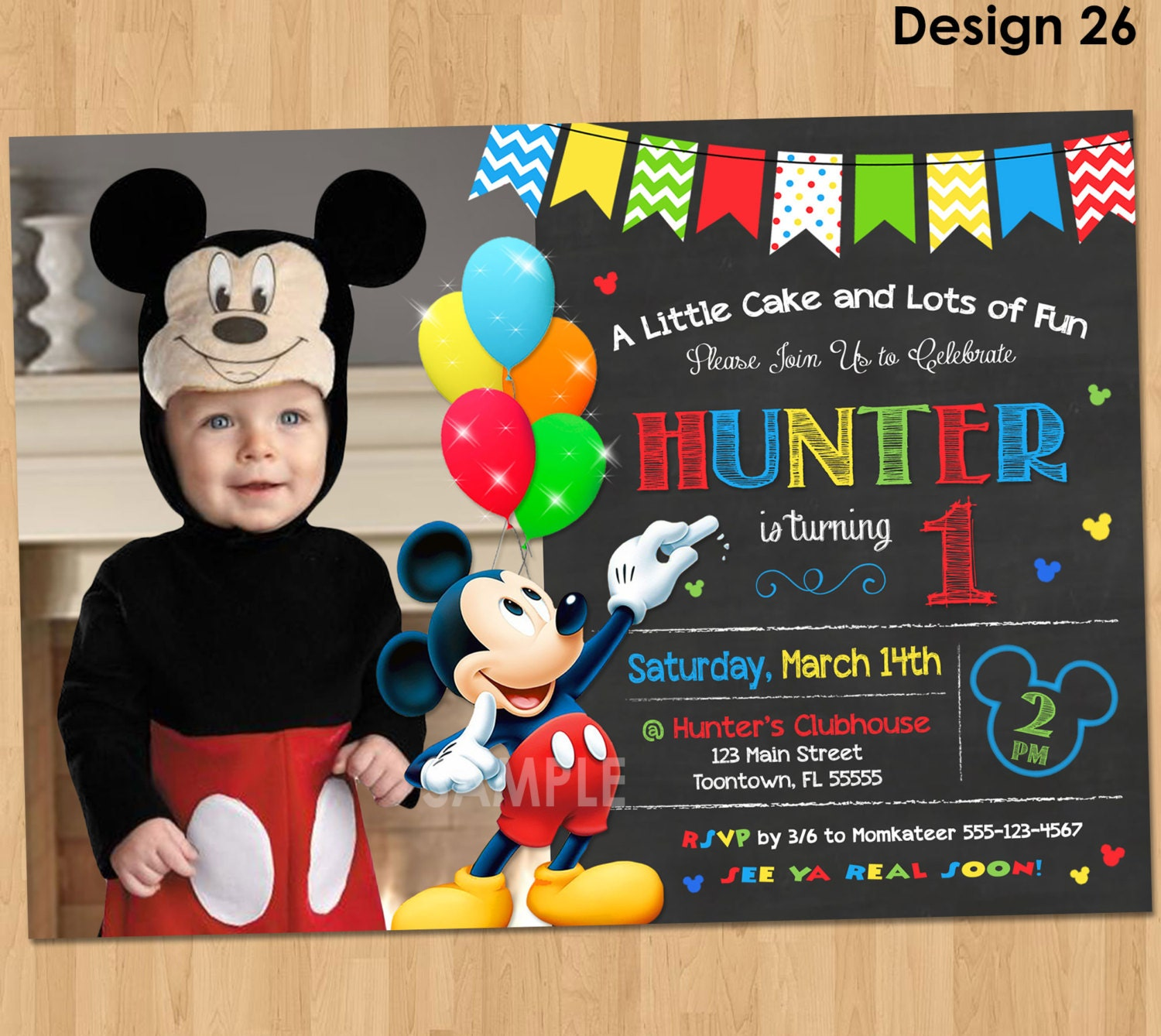 Mickey Mouse Invitation Birthday Mickey Mouse St Birthday - Birthday invitations for baby boy 1st