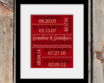 Great- Grandparent Gift, Grandparents Gift, Great-Grandkids Names and Birthdate Print, Gift for Grandparents, Grandparent's Day Gift