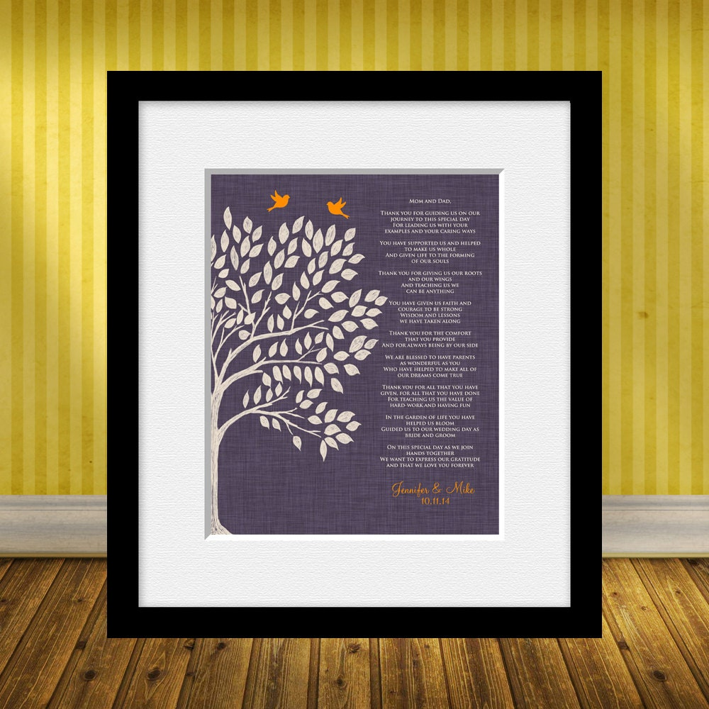 Gifts For Parents Wedding Thank You: Parent's Poem Thank You Gift For Our Parents Wedding Day