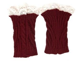 Women Knit Lace Short No Button Leg Warmers, Boot Socks, Leg Sweaters, Cable Knit Socks-Maroon