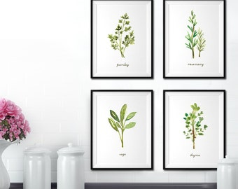 Herb watercolor painting, Kitchen art, Herb print Set of 4, Garden print, Botanical art, Kitchen print set, Culinary print Green artwork