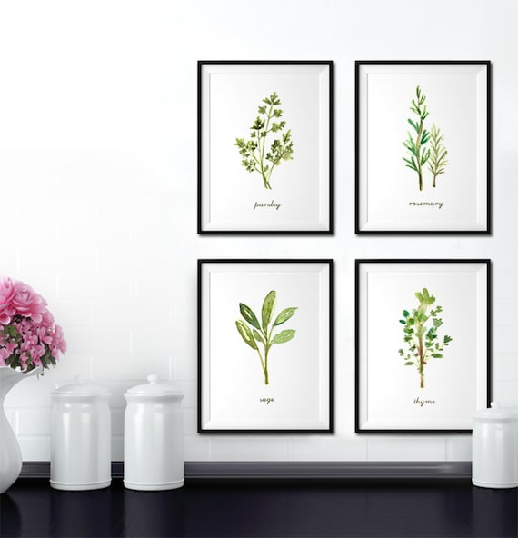 Herb watercolor painting kitchen art herb print set of 4 for Art prints for kitchen wall