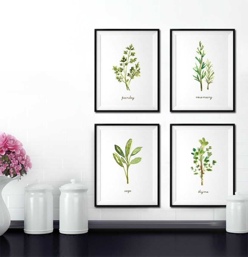 kitchen wall art herb watercolor painting kitchen herb print set of 4 28654