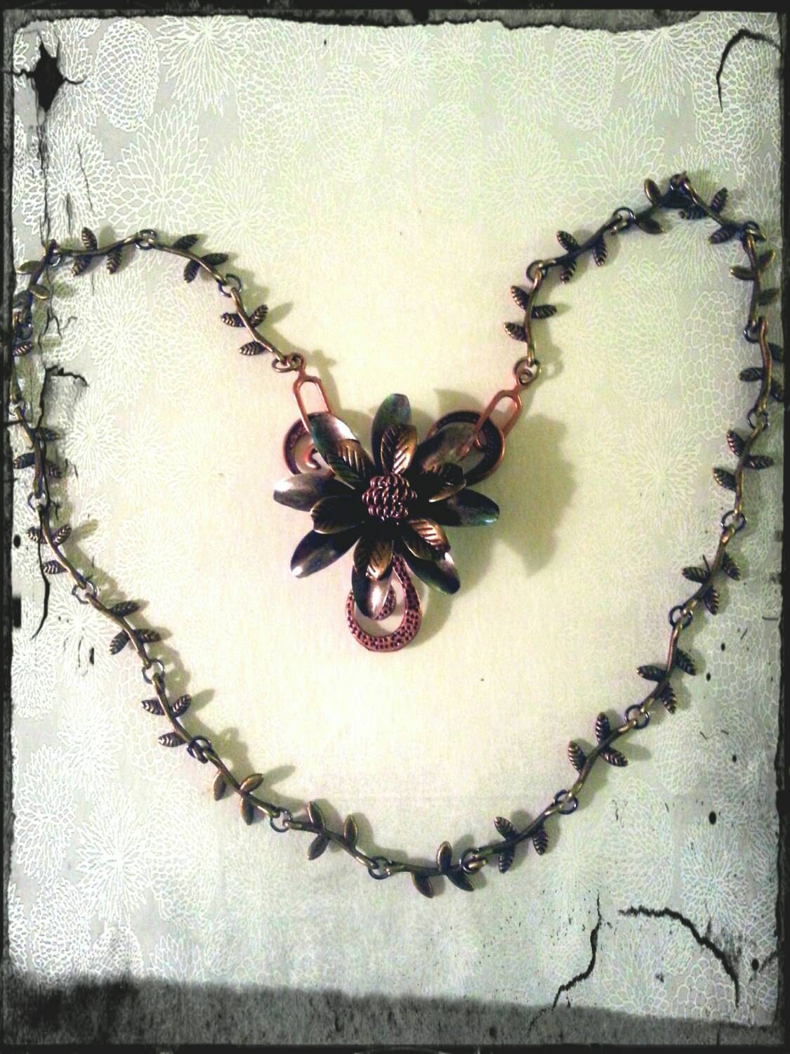Romantic Metal flower and swirl pendant necklace steampunk buy now online