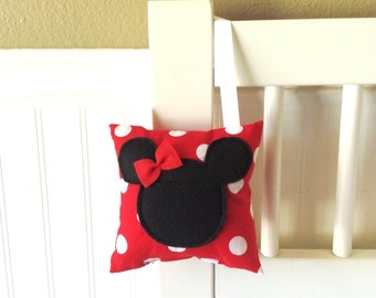 Minnie Mouse Tooth Fairy pillow, Polka dot organizer, keepsake money holder,