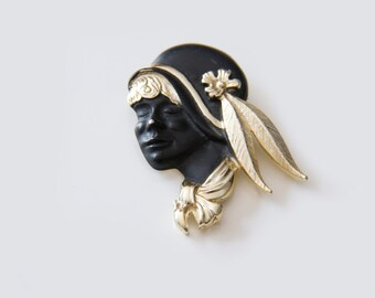 Vintage Flapper girl brooch, Signed Torino, Goldtone and Black