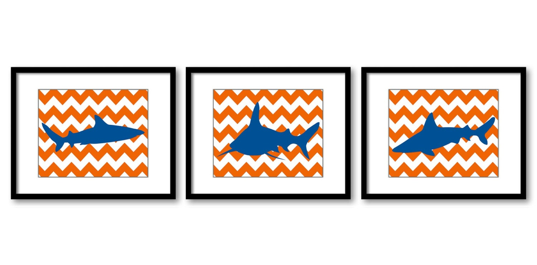 Shark Animals Art Prints Orange Chevron Set of 3 Blue Sharks Nursery Art Child Kids Room Wall Art De