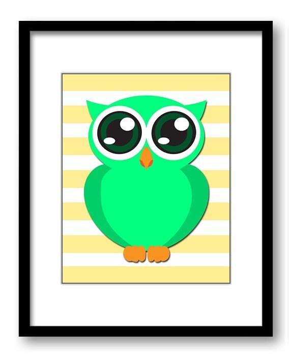 Lime Green Owl Nursery Art Nursery Print Baby Art Yellow Stripes Baby Animal Owl Blue Print Boys Wal