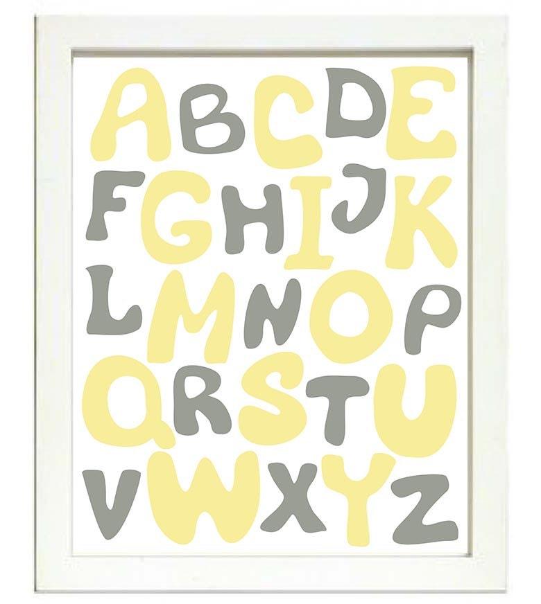 Yellow Grey Gray Alphabet Kids Room Nursery Art ABC Letters Nursery Print Child Baby Art Print Pink