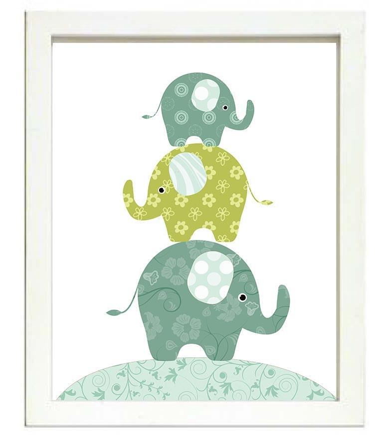 Elephant Nursery Art Nursery Print Baby Art Baby Animal Elephant Lime Green Teal Blue Polka Dots Wal