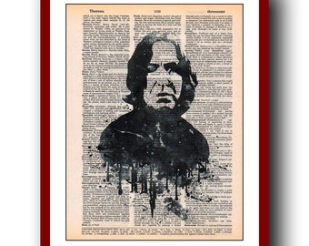 Severus Snape Poster  Harry Potter Print 24 Giclee Wall Illustrations Art Print 8x10  Wall Decor Book Page Art  Upcycled Dictionary
