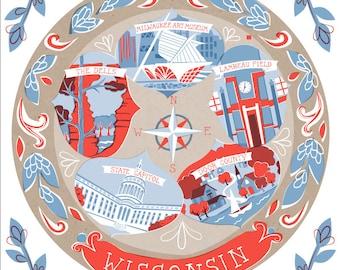 Wisconsin State Plate Art Print 10x8