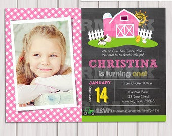 Pink Farm Invitations Chalkboard Photo Girl Farm Birthday Invitation Old McDonald Invitations Country Birthday Party Personalized Printable