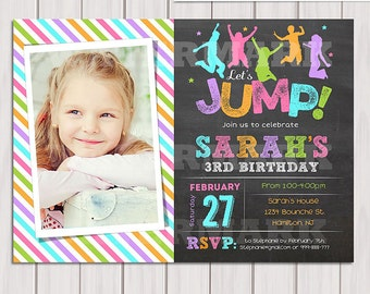 Jump birthday party invitation, Girl Bounce house, Trampoline birthday invitation, Pump It Up Party Photo invitation Printable DIY