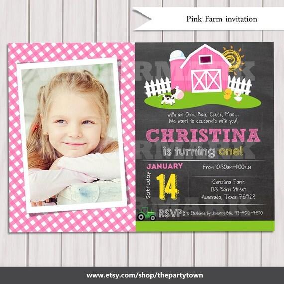 Pink farm invitations chalkboard photo girl farm birthday invitation il570xn filmwisefo