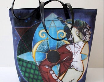 The Oracle Tote - Funky Oversized Tote with Orginal Artwork Design