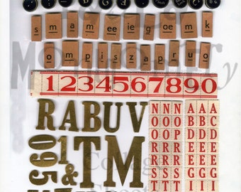 Ransom Letters and Typewriter Keys Digital Download Collage Sheet