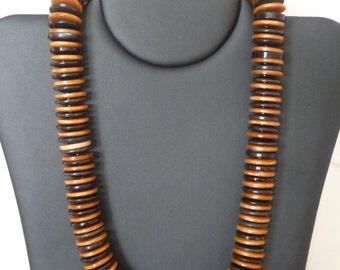 Long Butterscotch Button Necklaces