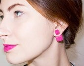 Square Earrings, Stud Earrings, Front Back Earring, Pink Earrings, Tribal Earrings, Double Pearl Earrings, Magenta Earrings, Stud Earings