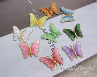 4 pieces Colorful Butterfly Embroidery Appliques Cotton Applique, Butterfly Patch, Iron on Applique