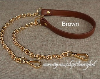 1 pc leather strap bag strap purse strap bag leather strap purse leather strap purse handle bag Brown leather with chain clasp strap