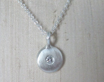 Sterling silver diamond coin necklace pebble coin necklace