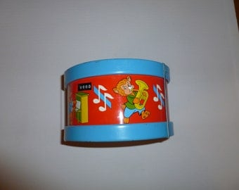 Ohio Art 6 inch Vintage Tin Toy Drum with Animals Playing Insturments Designs